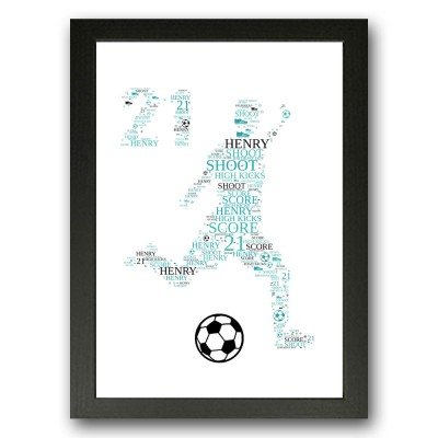 Personalised 21 Birthday Word art Football Gift